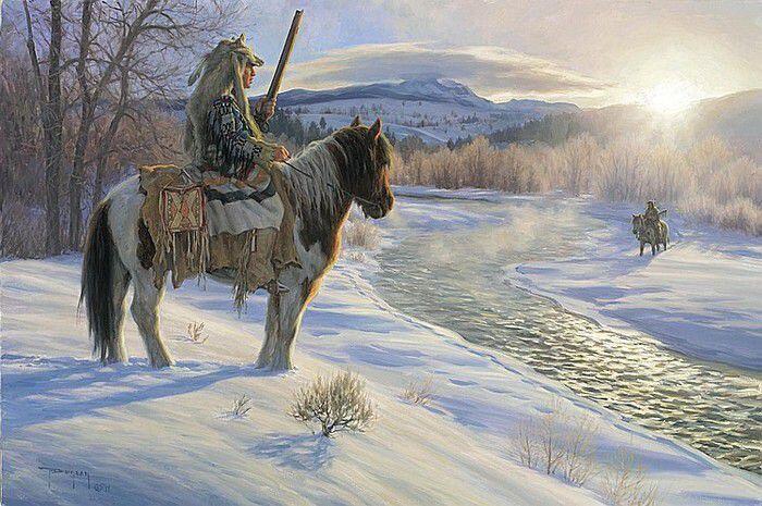 Индейцы у реки зимой