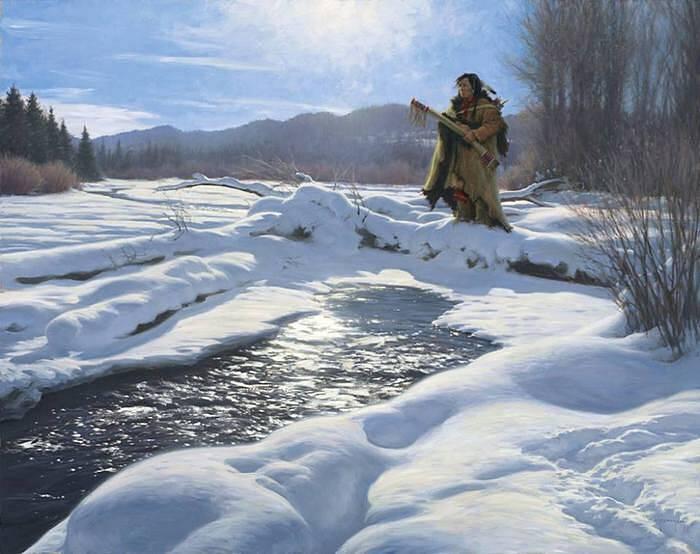 У реки зимой