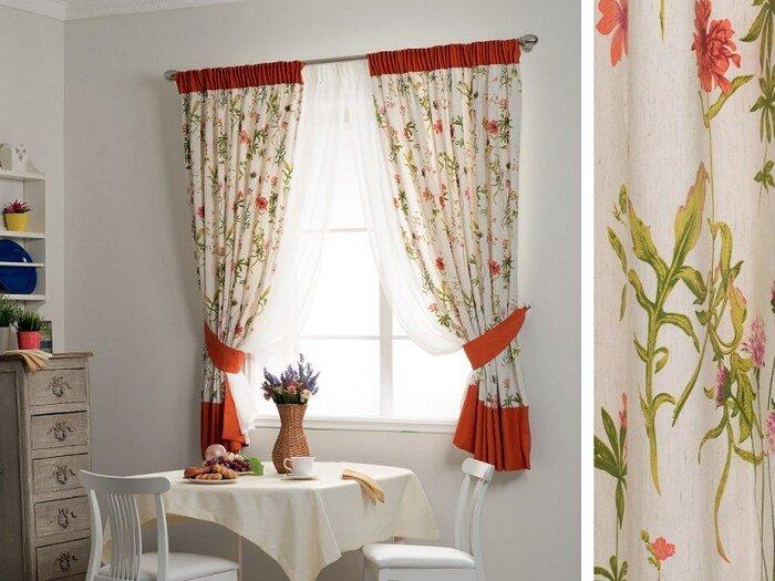 Двухцветные шторы для кухни