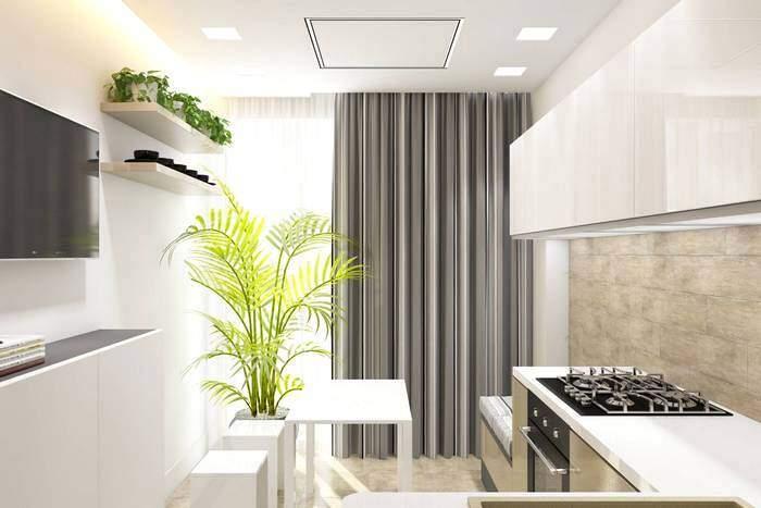 Шторы на кухне в современном стиле