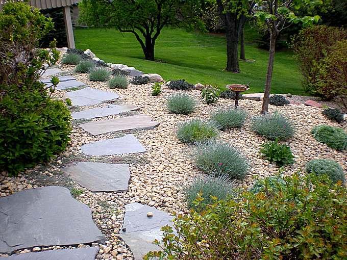 Камень-плитняк на садовой дорожке из щебня